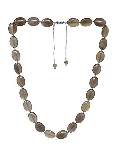 TreasureBay - Collar de cuentas de ágata gris...