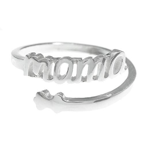 Anillo Mamá ajustable de Plata de Ley 925 -...