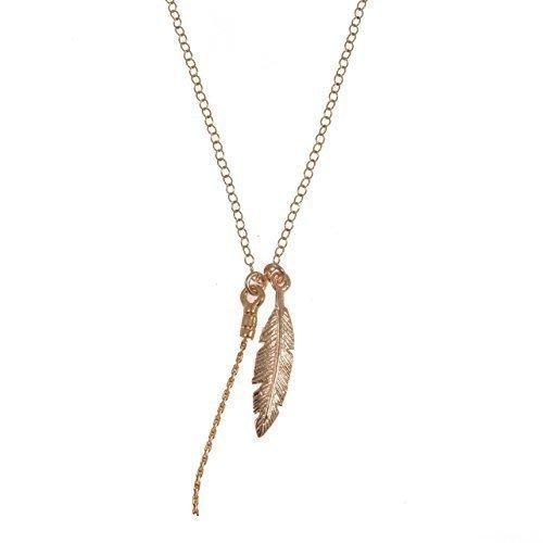 Collar de plumas 14k Colgante de oro con cadena...