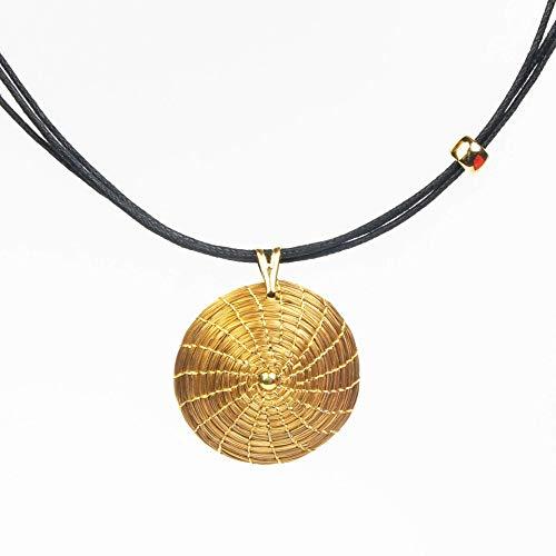 Collar Dorado Mandala Colgante Redondo en Oro...
