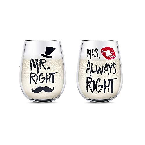 Juego de copas de vino Mr Right y Mrs Always...