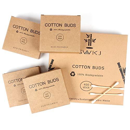 Bastoncillos de algodón en bambú, 4 paquetes de...