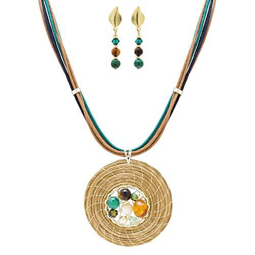 Conjunto Collar Dorado en Oro Vegetal con Piedras,...