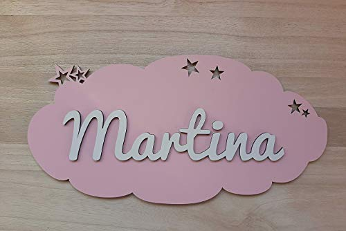 Placa nube de madera personalizada con nombre....