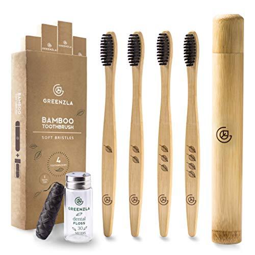Cepillo de Dientes de Bambú de Greenzla (4 Paq.)...