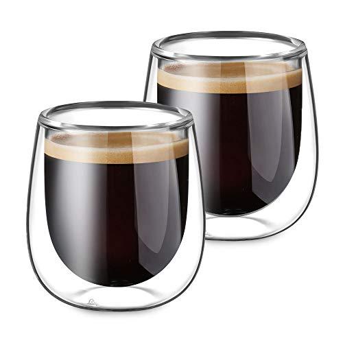 Glastal 120ml*2 Tazas de Café de Cristal,Vasos de...