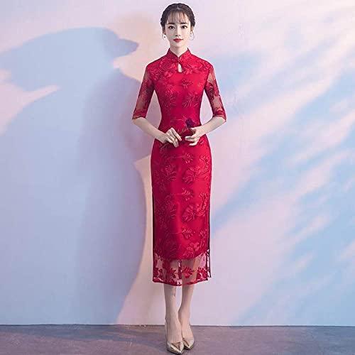 CIDCIJN Vestido Chino - Otoño E Invierno Azul...