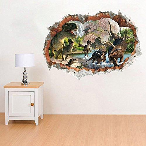 Dinosaurios en el Río Pegatinas Vista de Efecto...