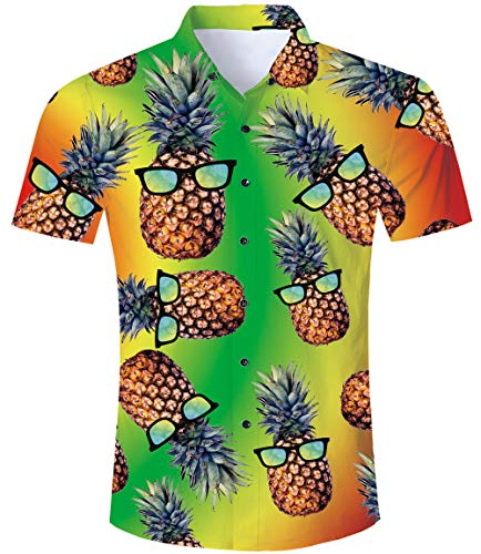 TUONROAD Camisas Hawaianas Pineapple Funny 3D...