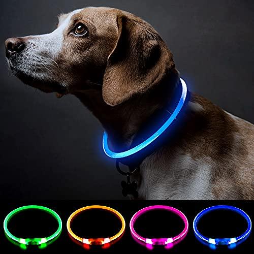Collar de perro con luz recargable para perros con...