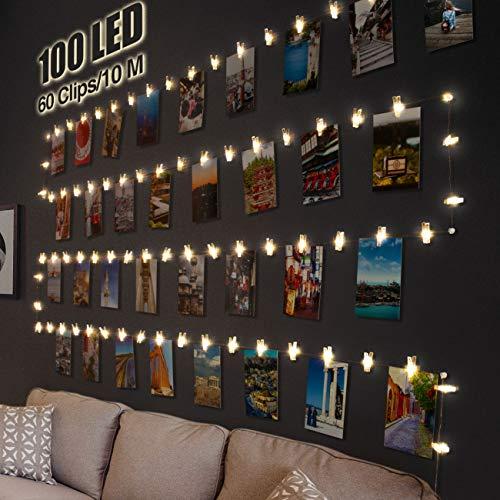 Litogo Clip Cadena de Luces LED, 10m 100 Led...