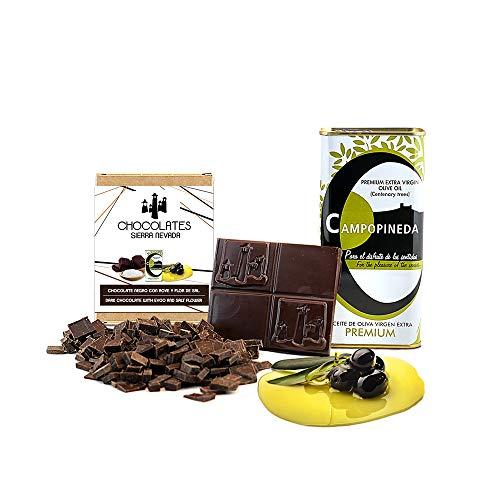Tableta de chocolate negro con AOVE y flor de sal...