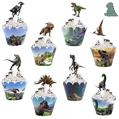 24 Cupcake Wrappers Dinosaur y 24 Dinosaurio...
