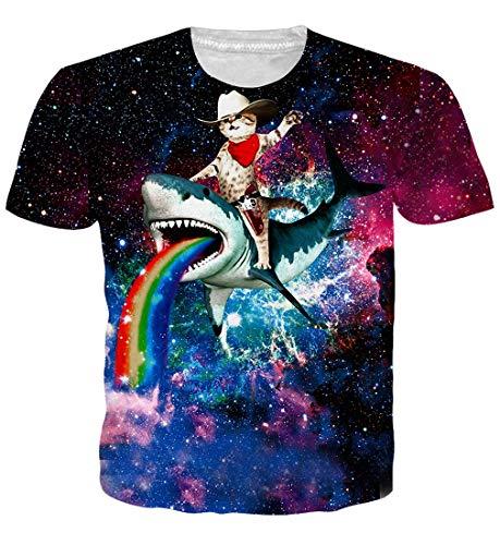 Goodstoworld Cat Shark Shirt Hombres Mujeres 3D...