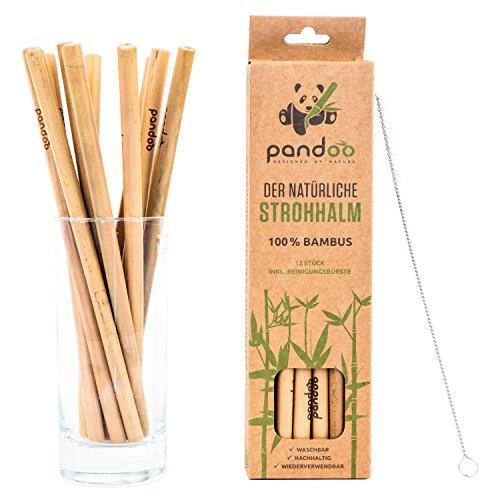Pandoo Paquete de 12 pajitas 100% de bambú,...
