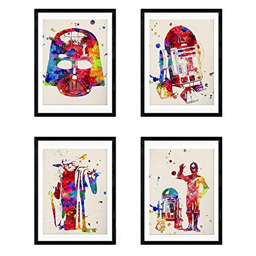Set de 4 láminas para enmarcar STAR WARS estilo...
