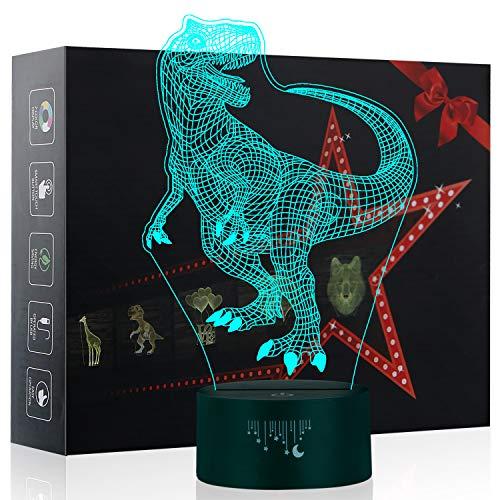 Luz de la Noche del Dinosaurio 3D, LED Lámpara de...