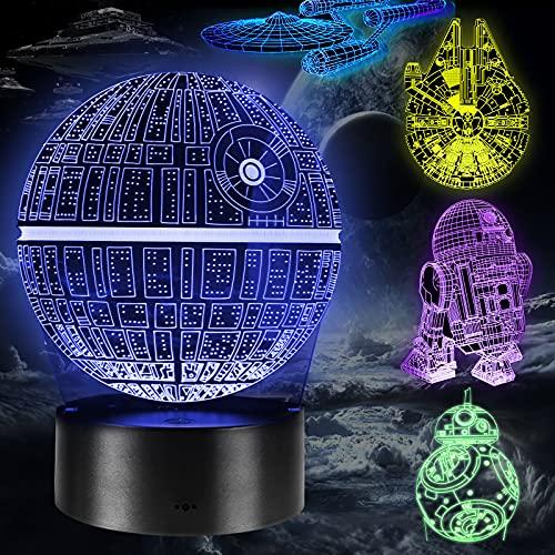 Lampara 3D, 5 Pack 3D Lampara Noche 4 Modos de...